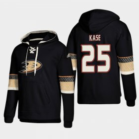 Wholesale Cheap Anaheim Ducks #25 Ondrej Kase Black adidas Lace-Up Pullover Hoodie