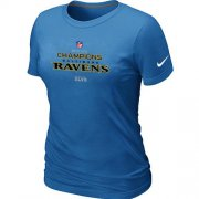 Wholesale Cheap Women's Nike Baltimore Ravens 2012 AFC Conference Champions Trophy Collection Long T-Shirt Light Blue