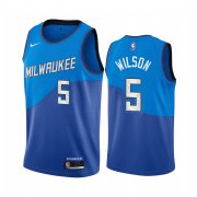Wholesale Cheap Nike Bucks #5 D.J. Wilson Blue NBA Swingman 2020-21 City Edition Jersey