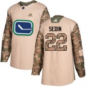 Wholesale Cheap Adidas Canucks #22 Daniel Sedin Camo Authentic 2017 Veterans Day Stitched NHL Jersey