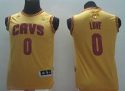 Wholesale Cheap Men's Cleveland Cavaliers #0 Kevin Love Yellow 2017 The NBA Finals Patch Jersey