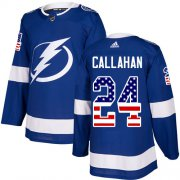 Wholesale Cheap Adidas Lightning #24 Ryan Callahan Blue Home Authentic USA Flag Stitched NHL Jersey
