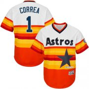 Wholesale Cheap Astros #1 Carlos Correa White/Orange Cooperstown Stitched Youth MLB Jersey