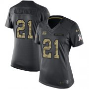 Wholesale Cheap Nike Bengals #21 Mackensie Alexander Black Women's Stitched NFL Limited 2016 Salute to Service Jersey