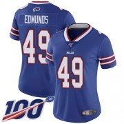 Wholesale Cheap Nike Bills #49 Tremaine Edmunds Royal Blue Team Color Women's Stitched NFL 100th Season Vapor Limited Jersey