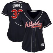 Wholesale Cheap Braves #32 Cole Hamels Navy Blue Alternate Women's Stitched MLB Jersey