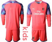 Wholesale Cheap AC Milan Blank Pink Goalkeeper Long Sleeves Kid Soccer Club Jersey