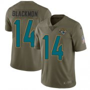 Wholesale Cheap Nike Jaguars #14 Justin Blackmon Olive Youth Stitched NFL Limited 2017 Salute to Service Jersey