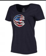 Wholesale Cheap Women's Chicago Cubs USA Flag Fashion T-Shirt Navy Blue