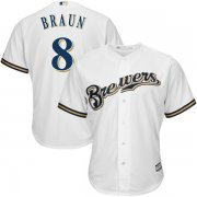Wholesale Cheap Brewers #8 Ryan Braun White Cool Base Stitched Youth MLB Jersey