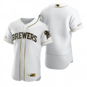 Wholesale Cheap Milwaukee Brewers Blank White Nike Men's Authentic Golden Edition MLB Jersey
