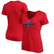Wholesale Cheap Washington Nationals Majestic Women's 2019 National League Champions Bullpen V-Neck T-Shirt Red
