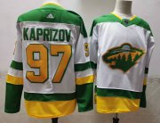 Wholesale Cheap Men's Minnesota Wild #97 Kirill Kaprizov 2021 White Retro Stitched NHL Jersey