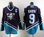 Wholesale Cheap Ducks #9 Paul Kariya Purple/Turquoise CCM Throwback Stitched NHL Jersey