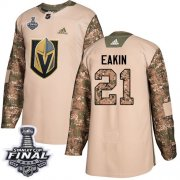 Wholesale Cheap Adidas Golden Knights #21 Cody Eakin Camo Authentic 2017 Veterans Day 2018 Stanley Cup Final Stitched NHL Jersey