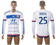 Wholesale Cheap Lyon #25 Benzia Home Long Sleeves Soccer Club Jersey