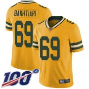 Wholesale Cheap Nike Packers #69 David Bakhtiari Yellow Men's Stitched NFL Limited Rush 100th Season Jersey
