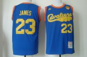 Wholesale Cheap Men's Cleveland Cavaliers #23 LeBron James 2017 The NBA Finals Patch 2009 Blue Hardwood Classics Soul Swingman Throwback Jersey