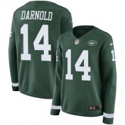 Wholesale Cheap Nike Jets #14 Sam Darnold Green Team Color Women's Stitched NFL Limited Therma Long Sleeve Jersey