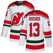 Wholesale Cheap Adidas Devils #13 Nico Hischier White Alternate Authentic Stitched NHL Jersey