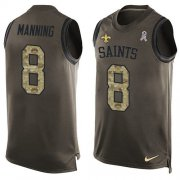 Wholesale Cheap Nike Saints #8 Archie Manning Green Men's Stitched NFL Limited Salute To Service Tank Top Jersey