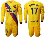 Wholesale Cheap Barcelona #17 Griezmann Away Long Sleeves Soccer Club Jersey