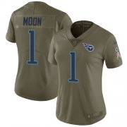 Wholesale Cheap Nike Titans #1 Warren Moon Olive Women's Stitched NFL Limited 2017 Salute to Service Jersey