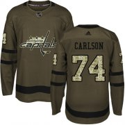 Wholesale Cheap Adidas Capitals #74 John Carlson Green Salute to Service Stitched Youth NHL Jersey