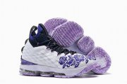 Wholesale Cheap Nike Lebron James 15 Air Cushion Shoes Lakers Flowers and Plants White Purple