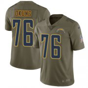 Wholesale Cheap Nike Chargers #76 Russell Okung Olive Men's Stitched NFL Limited 2017 Salute To Service Jersey