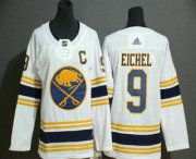 Wholesale Cheap Youth Buffalo Sabres #9 Jack Eichel White With Gold C Patch and 50th Anniversary Adidas Stitched NHL Jersey