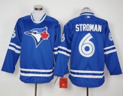 Wholesale Cheap Blue Jays #6 Marcus Stroman Blue Long Sleeve Stitched MLB Jersey