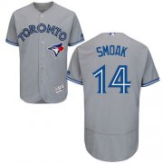 Wholesale Cheap Blue Jays #14 Justin Smoak Grey Flexbase Authentic Collection Stitched MLB Jersey