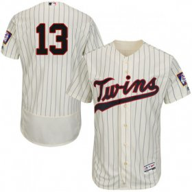 Wholesale Cheap Twins #13 Ehire Adrianza Cream Strip Flexbase Authentic Collection Stitched MLB Jersey