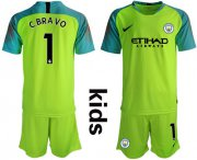 Wholesale Cheap Manchester City #1 C.Bravo Shiny Green Goalkeeper Kid Soccer Club Jersey