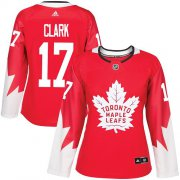 Wholesale Cheap Adidas Maple Leafs #17 Wendel Clark Red Team Canada Authentic Women's Stitched NHL Jersey