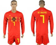 Wholesale Cheap Belgium #7 De Bruyne Red Home Long Sleeves Soccer Country Jersey