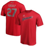 Wholesale Cheap American League #27 Mike Trout Majestic 2019 MLB All-Star Game Name & Number T-Shirt - Red