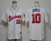 Wholesale Cheap Braves #10 Chipper Jones Cream Cool Base Stitched MLB Jersey