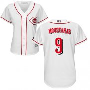 Wholesale Cheap Reds #9 Mike Moustakas White Home Women's Stitched MLB Jersey