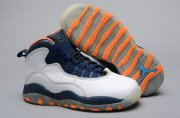 Wholesale Cheap Air Jordan 10 Retro Kids Shoes White/blue-orange