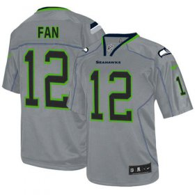 Wholesale Cheap Nike Seahawks #12 Fan Lights Out Grey Men\'s Stitched NFL Elite Jersey