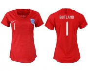 Wholesale Cheap Women's England #1 Butland Away Soccer Country Jersey