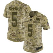 Wholesale Cheap Nike Browns #5 Case Keenum Camo Women's Stitched NFL Limited 2018 Salute To Service Jersey