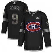 Wholesale Cheap Adidas Canadiens #9 Maurice Richard Black Authentic Classic Stitched NHL Jersey