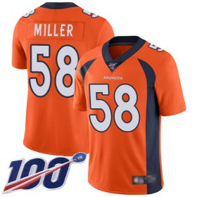 Wholesale Cheap Nike Broncos #58 Von Miller Orange Team Color Youth Stitched NFL 100th Season Vapor Limited Jersey