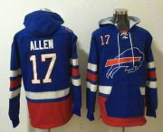 Wholesale Cheap Men's Buffalo Bills #17 Josh Allen NEW Blue Pocket Stitched NFL Pullover Hoodie