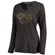 Wholesale Cheap Women's Arizona Diamondbacks Gold Collection Long Sleeve V-Neck Tri-Blend T-Shirt Black