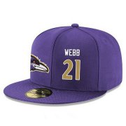 Wholesale Cheap Baltimore Ravens #21 Lardarius Webb Snapback Cap NFL Player Purple with Gold Number Stitched Hat