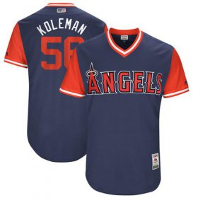 "Wholesale Cheap Angels of Anaheim #56 Kole Calhoun Navy ""Koleman\"" Players Weekend Authentic Stitched MLB Jersey"